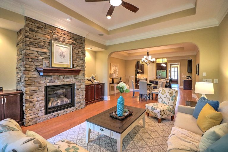 3832 Cottage Rose Raleigh NC 27612 Living Room w-stacked stone Fireplace